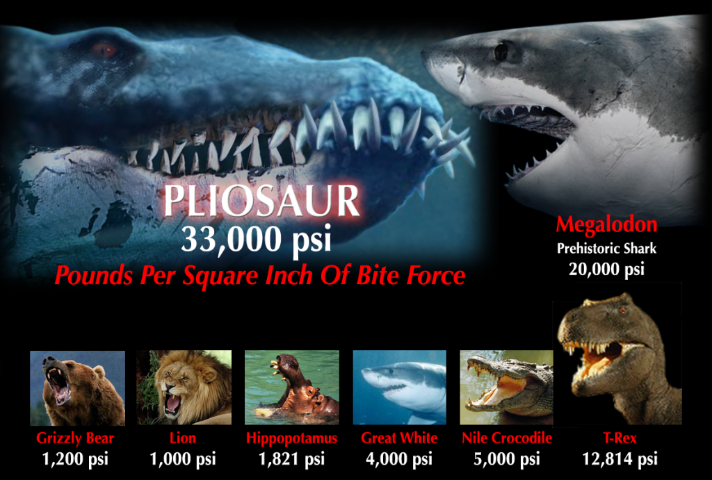 pliosaur bite force comparison