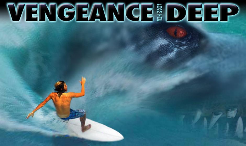 pliosaur stalking surfer in a wave