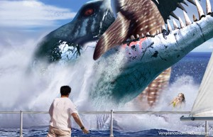 pliosaur-whaleshark-attack